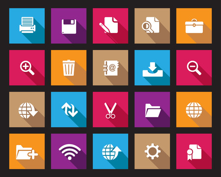 broken link: Colourfull Square web y los iconos de la oficina Stock vector en alta resoluci�n. Escalado en cualquier tama�o y utilizado para el SEO, p�gina web, blog, aplicaciones m�viles, documentos, impresi�n gr�fica.
