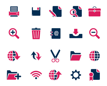 document icon: Stock Vector pink blue web and office icons in high resolution. Scaled at any size and used for SEO, web page, blog, mobile apps, documents, graphic  printing.
