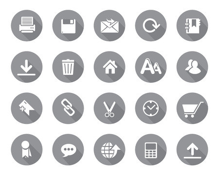 Stock Vector grey rounded web and office icons with shadow in high resolution. Scaled at any size and used for SEO, web page, blog, mobile apps, documents, graphic  printing. Фото со стока - 42047633