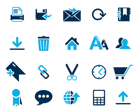 high size: Stock Vector blue web and office icons in high resolution. Scaled at any size and used for SEO, web page, blog, mobile apps, documents, graphic  printing. Illustration