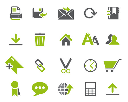 high size: Stock Vector Green web and office icons in high resolution. Scaled at any size and used for SEO, web page, blog, mobile apps, documents, graphic  printing. Illustration