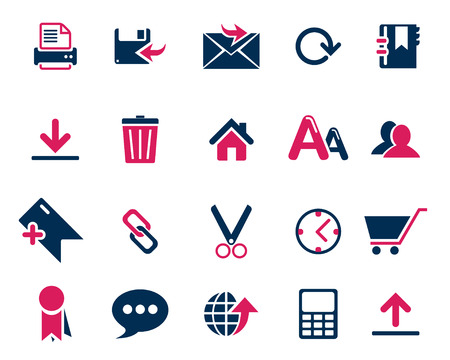 scaled: Stock Vector pink blue web and office icons in high resolution. Scaled at any size and used for SEO, web page, blog, mobile apps, documents, graphic  printing.