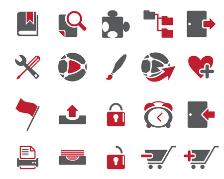 scaled: Stock Vector Maroon web and office icons in high resolution. Scaled at any size and used for SEO, web page, blog, mobile apps, documents, graphic  printing.
