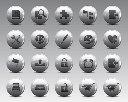 3d grey balls Stock Vector web and office icons with shadow in high resolution. Scaled at any size and used for SEO, web page, blog, mobile apps, documents, graphic  printing. Illustration
