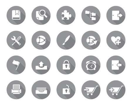 Stock Vector grey rounded web and office icons with shadow in high resolution. Scaled at any size and used for SEO, web page, blog, mobile apps, documents, graphic  printing.