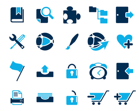 any size: Stock Vector blue web and office icons in high resolution. Scaled at any size and used for SEO, web page, blog, mobile apps, documents, graphic  printing. Illustration