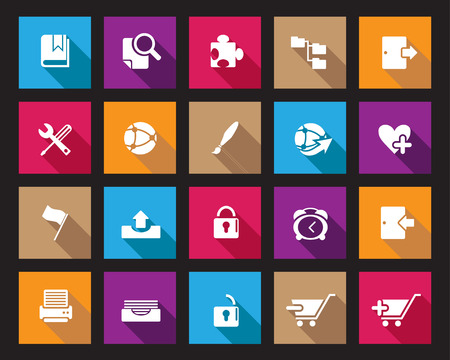 colourfull: Square colourfull Stock Vector web and office icons in high resolution. Scaled at any size and used for SEO, web page, blog, mobile apps, documents, graphic  printing.
