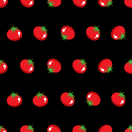 Stock Vector red tomato pattern on black background for wallpaper, pattern, web, blog, surface, texture, graphic & printing.