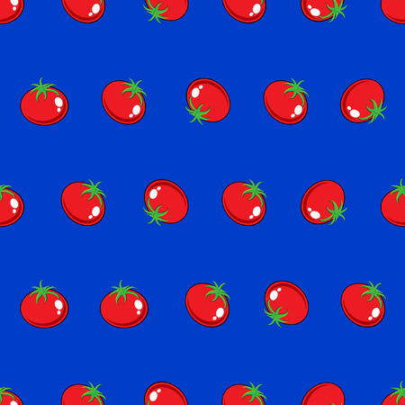 Stock Vector red tomato pattern on blue background for wallpaper, pattern, web, blog, surface, texture, graphic & printing.