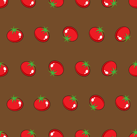 Stock Vector red tomato pattern on brown background for wallpaper, pattern, web, blog, surface, texture, graphic & printing.