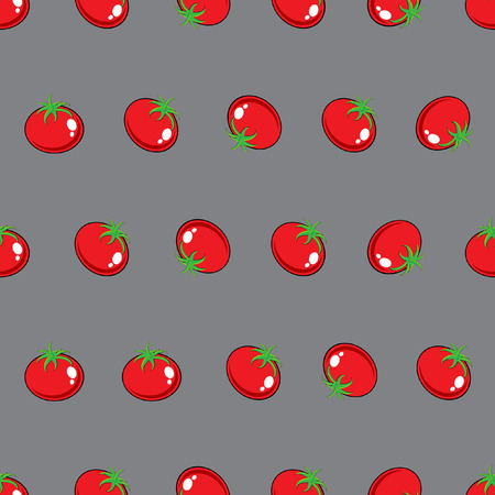 Stock Vector red tomato pattern on grey background for wallpaper, pattern, web, blog, surface, texture, graphic & printing. Illustration