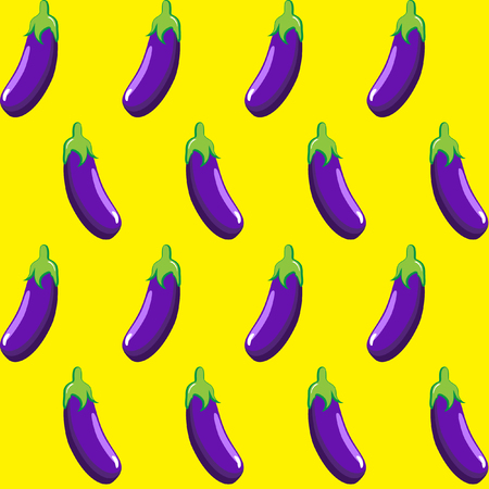 eggplant stock vector pattern on yellow background wallpaper, pattern, web, blog, surface, textures, graphic & printing Illustration