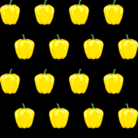 yellow bell pepper stock vector pattern on black background for wallpaper, pattern, web, blog, surface, textures, graphic & printing