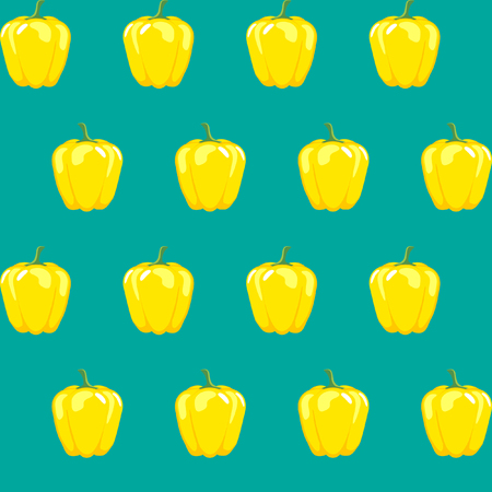 yellow bell pepper stock vector pattern on blue green background for wallpaper, pattern, web, blog, surface, textures, graphic & printing