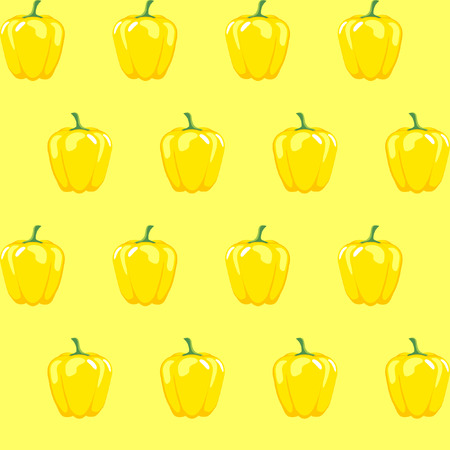 yellow bell pepper stock vector pattern on yellow background for wallpaper, pattern, web, blog, surface, textures, graphic & printing Illustration