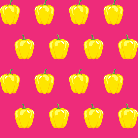 yellow bell pepper stock vector pattern on pink background for wallpaper, pattern, web, blog, surface, textures, graphic & printing