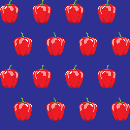 red bell pepper stock vector pattern on blue background for wallpaper, pattern, web, blog, surface, textures, graphic & printing Illustration