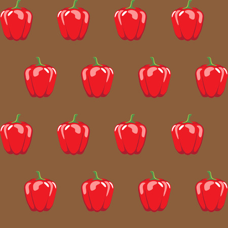 red bell pepper stock vector pattern on brown background for wallpaper, pattern, web, blog, surface, textures, graphic & printing