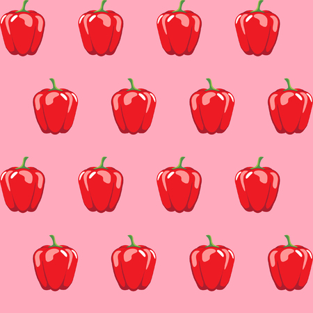 red bell pepper stock vector pattern on pink background for wallpaper, pattern, web, blog, surface, textures, graphic & printing