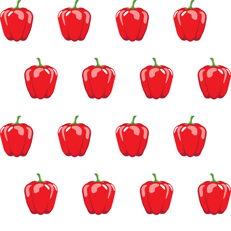 red bell pepper stock vector pattern on white background for wallpaper, pattern, web, blog, surface, textures, graphic & printing Illustration
