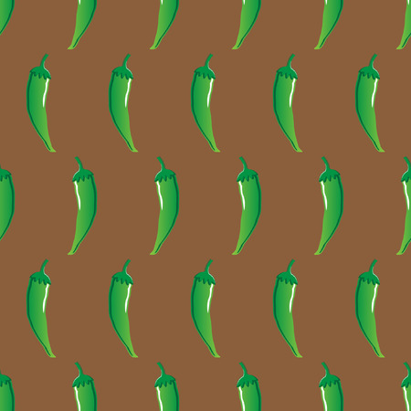 green chilli stock vector seamless pattern on brown background for wallpaper, pattern, web, blog, surface, textures, graphic & printing Illustration