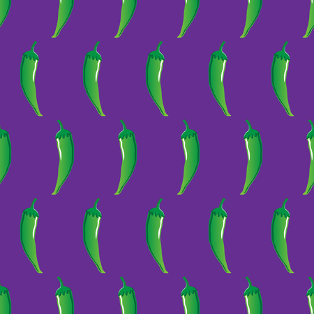 green chilli stock vector seamless pattern on purple background for wallpaper, pattern, web, blog, surface, textures, graphic & printing