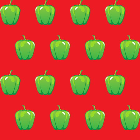 Green bell pepper pattern with red illustration.