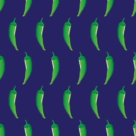 Green chili pattern in blue illustration. Vectores