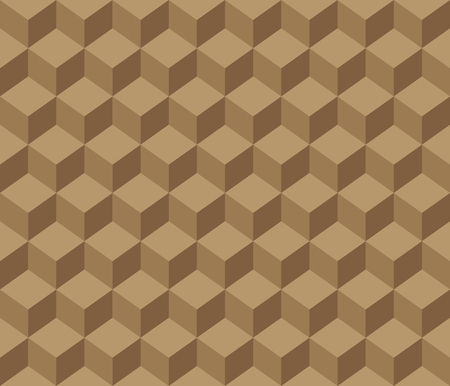 Brown contour abstract geometrical cubes pattern design. Vectores