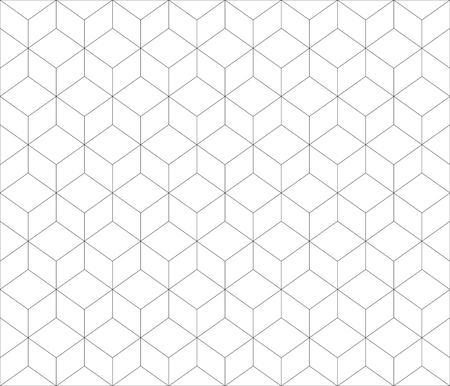 Black lined contour abstract geometrical cubes pattern design.