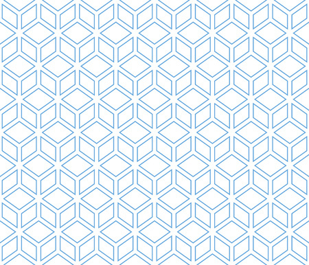 Blue lined with blue border contour abstract geometrical pattern.