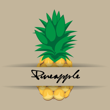 pineapple fruit contour abstract seamless pattern on stark white background with name and strip for wallpaper, pattern, web, blog, surface, textures, graphic & printing Illustration