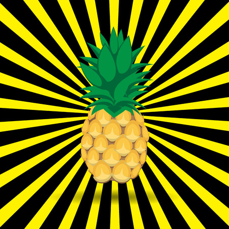 Pineapple fruit contour abstract seamless pattern with yellow black radiating lines background for wallpaper, pattern, web, blog, surface, textures, graphic