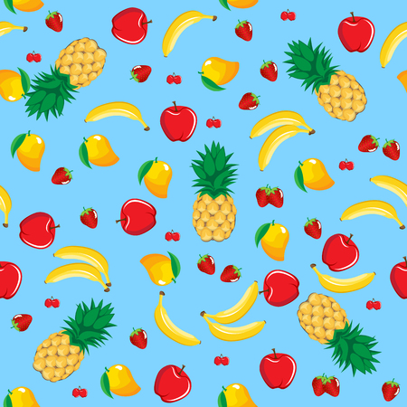 Mango pineapple apple strawberry banana cherry mix fruits seamless pattern on neon blue background for wallpaper, pattern, web, blog, surface, textures, graphic