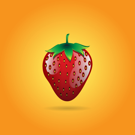 A red strawberry fruit contour abstract on orange glowing background for wallpaper, pattern, web, blog, surface, textures, graphic