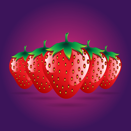 red strawberries fruit contour abstract seamless pattern on pink and purple background for wallpaper.