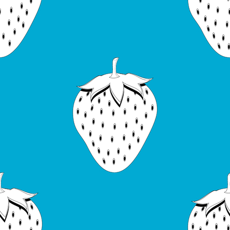2d strawberry fruit contour abstract seamless pattern on blue background for wallpaper, pattern, web, blog, surface, textures, graphic or printing