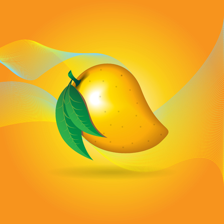 mango fruit contour abstract on orange background with flairs for wallpaper.