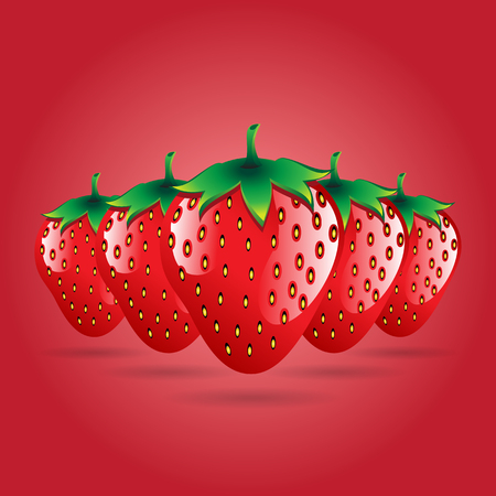 red strawberries fruit contour abstract seamless pattern on red background for wallpaper, pattern, web, blog, surface, textures, graphic & printing Illustration