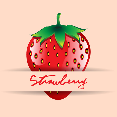 A red strawberry with name on strip contour abstract seamless pattern on peach background for wallpaper, pattern, web, blog, surface, textures, graphic Illustration