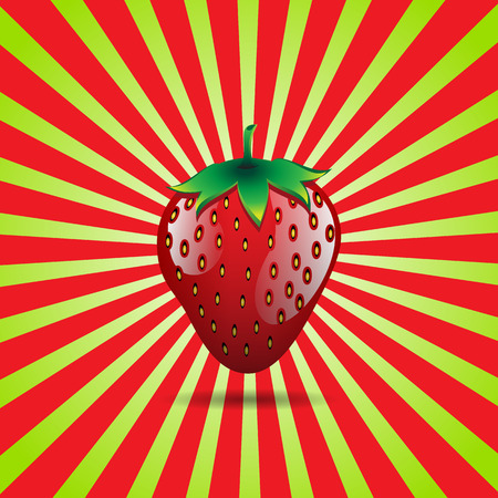 red strawberry fruit contour abstract seamless pattern on light green