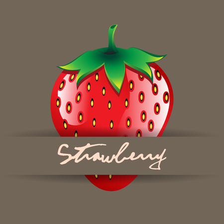A red strawberry with name on strip contour abstract seamless pattern on brown background for wallpaper, pattern, web, blog, surface, textures, graphic Illustration