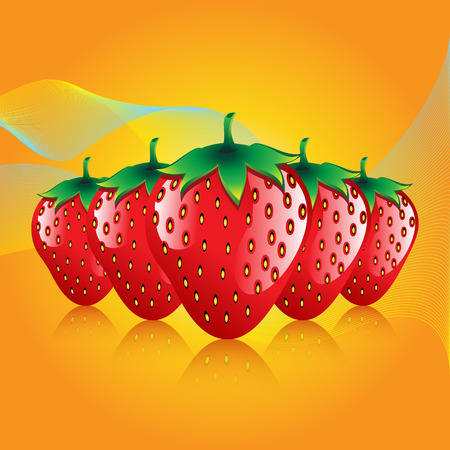 red strawberries fruit contour abstract seamless pattern on orange glowing background for wallpaper. Illustration