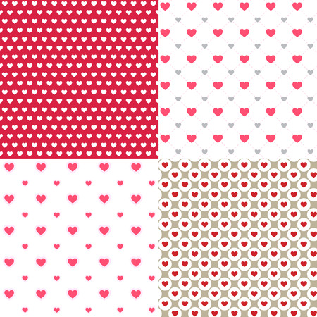 red beautiful hearts contour abstract seamless patterns backgrounds. for wallpaper, pattern, web, blog, surface, textures, graphic & printing