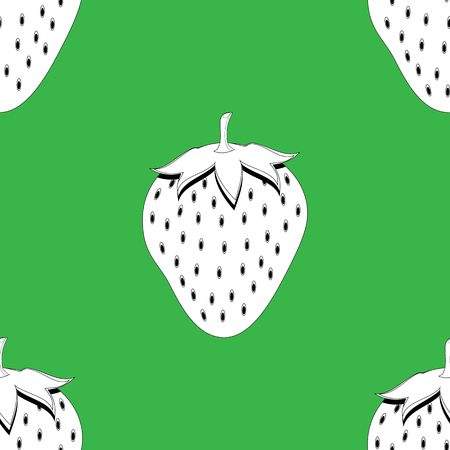 2d strawberry fruit contour abstract seamless pattern on green background for wallpaper, pattern, web, blog, surface, textures, graphic or printing