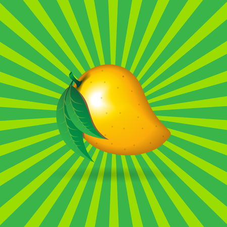 A mango fruit contour abstract on green radiating lines background for wallpaper, pattern, web, blog, surface, textures, graphic or printing
