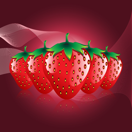 red strawberries fruit contour abstract seamless pattern on bokah shaded background.