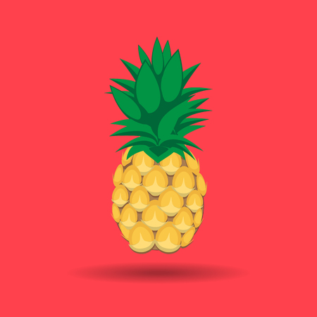 pineapple fruit contour abstract seamless pattern on pink background for wallpaper, pattern, web, blog, surface, textures, graphic & printing Illustration
