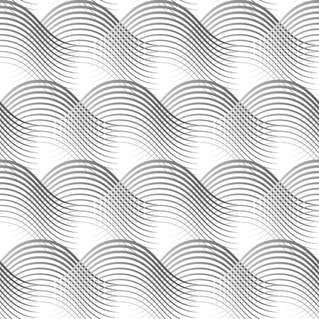 Geometrical Seamless Pattern black waves on white