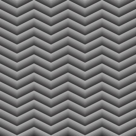 Geometrical Seamless Pattern waves on black background Illustration